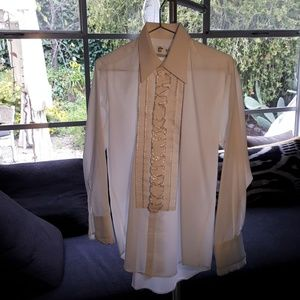 After six men's ruffled tux shirt